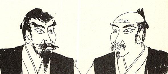 和田長三郎(左)と秋田孝季(右)の肖像画